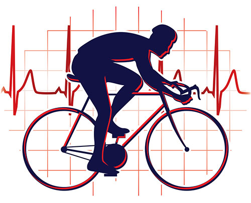 Cyclist in front of heartbeat graph