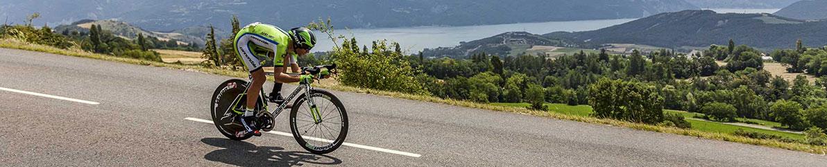 road cyclist in beautiful mountain scenery